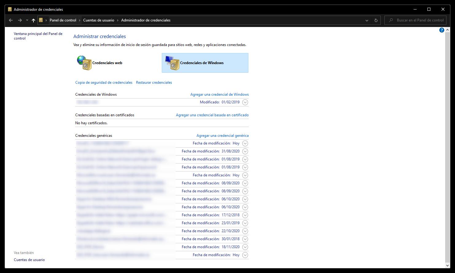 Administrador de credenciales de Windows