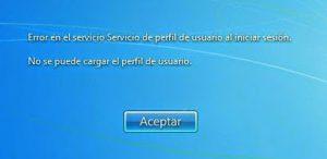 Error en el servicio de Perfil de usuario al iniciar la sesión